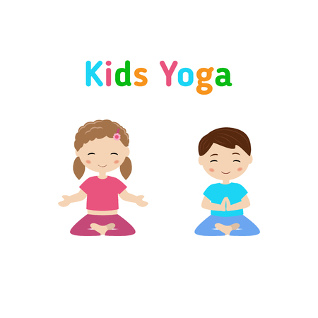 Children doing yoga in different positions: Royalty-free