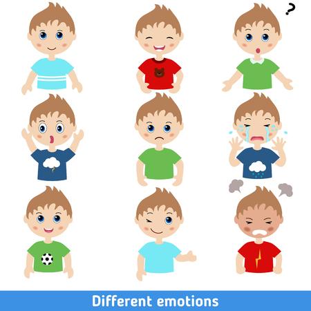 Ilustración de Illustration of boy faces showing different emotions - Imagen libre de derechos