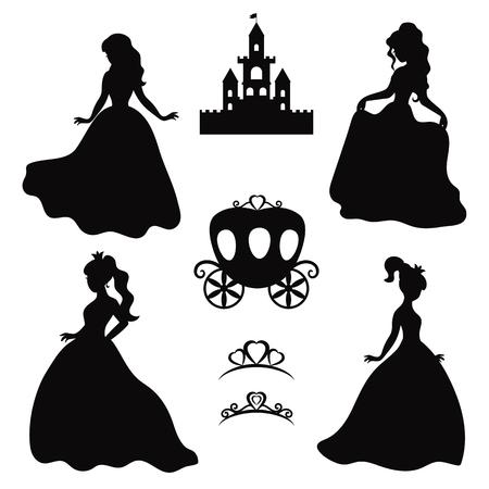 Illustration pour Set of silhouettes of princess on white background. - image libre de droit
