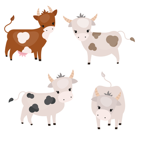 Vector set of cute cows on white background. Cows made in cartoon style.