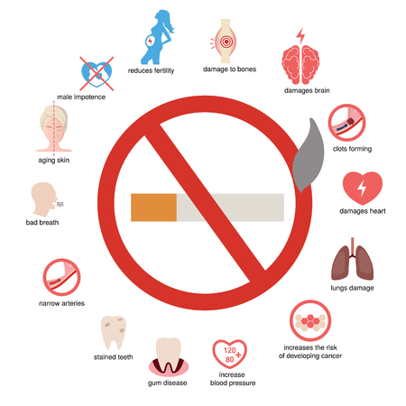Health and healthcare infographic. How smoking affects your body.