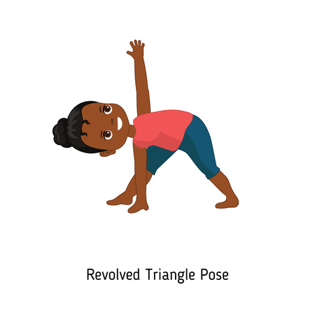 Illustration pour Child doing yoga. Revolved Triangle Yoga Pose. Cartoon style illustration isolated on white background. - image libre de droit