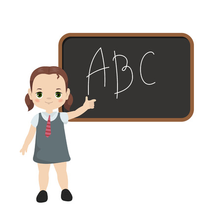 Illustration pour Back to school theme with girl and board illustration - image libre de droit
