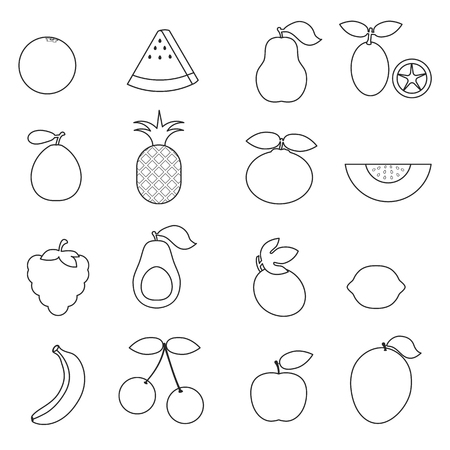 Fruits isolated on the white background.