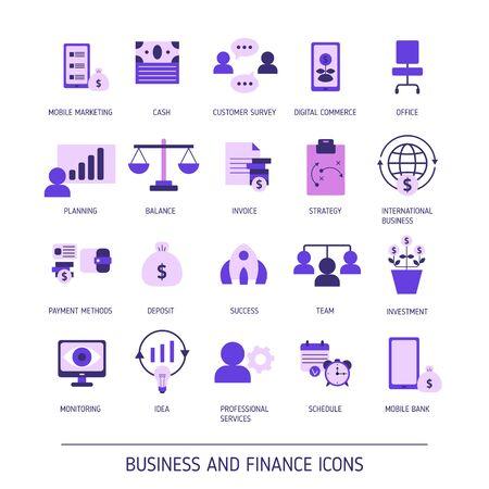 Illustration pour Set of business and finance web icons. Vector illustration. - image libre de droit