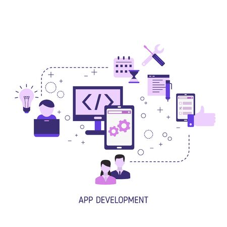 Illustration for App development and design concept. Making creative products. Vector illustration. - Royalty Free Image