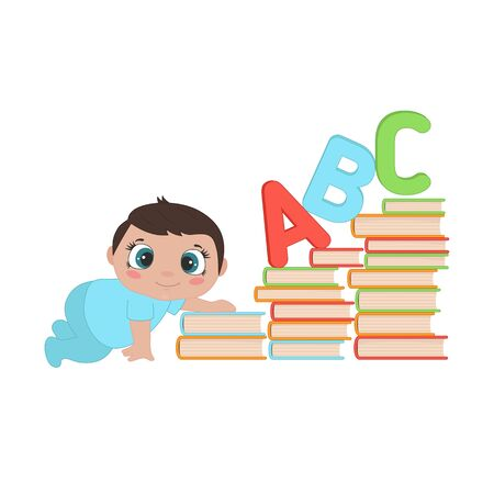 Illustration pour Illustration of a baby boy crawling up the stairs of books. Baby early child development. - image libre de droit