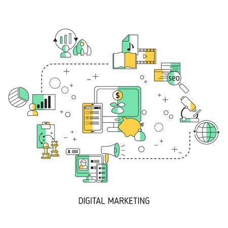 Illustration pour Digital marketing and digital technologies concept. Vector illustration. - image libre de droit