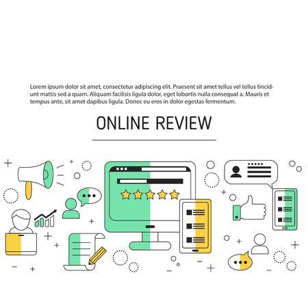 Illustration pour User online reviews background with social media icons. - image libre de droit