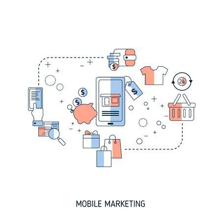 Illustration pour Mobile marketing concept. Vector illustration for website, app, banner, etc. - image libre de droit
