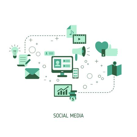 Illustration for Social media connection concept with media icons. Vector illustration. - Royalty Free Image