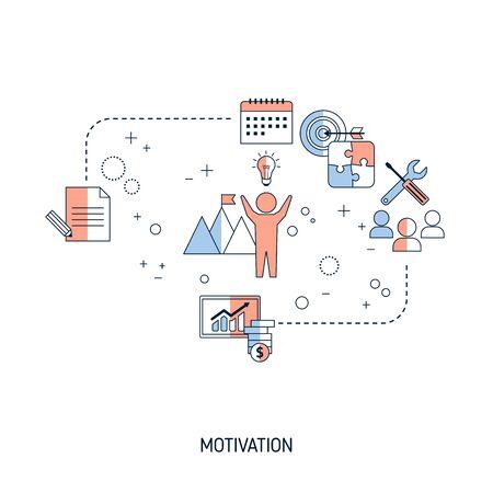 Illustration for Motivation concept. Vector illustration for website, app, banner, etc. - Royalty Free Image