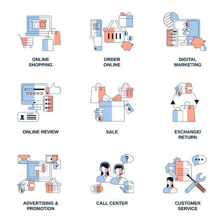 Illustration pour Online Shopping, Digital Marketing, Advertising Promotion elements vector icons. - image libre de droit