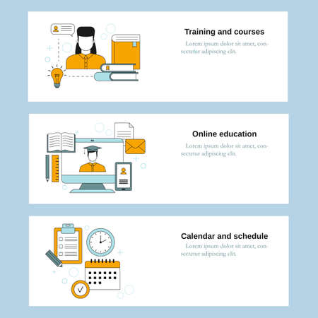 Illustration for Training and courses, Online education, Calendar and schedule. Vector template for website, mobile website, landing page, ui. - Royalty Free Image