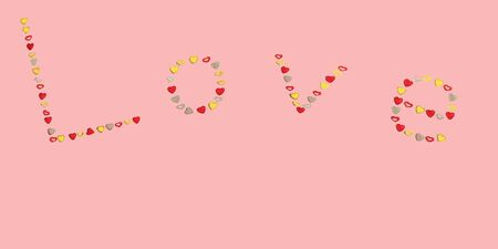 Gentle romantic seamless pattern with word Love, made of small metallic red, gold and silver hearts on soft pink backdrop. Valentines day postcard design. Horizontal banner. Copy space