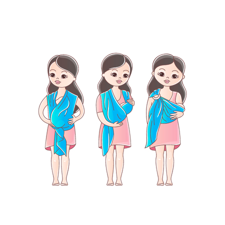Foto de Mothers with his babies in sling scarf. Three positions of baby in sling scarf. Isolated on white background. - Imagen libre de derechos
