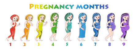 Illustration pour Pregnant girls. Vector illustration in cartoon style on a white background. Postcard, poster, poster for pregnant women - image libre de droit