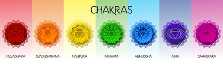 Illustration for Chakras set: muladhara, swadhisthana, manipura, anahata, vishuddha, ajna, sahasrara. Vector line symbol. Om sign - Royalty Free Image