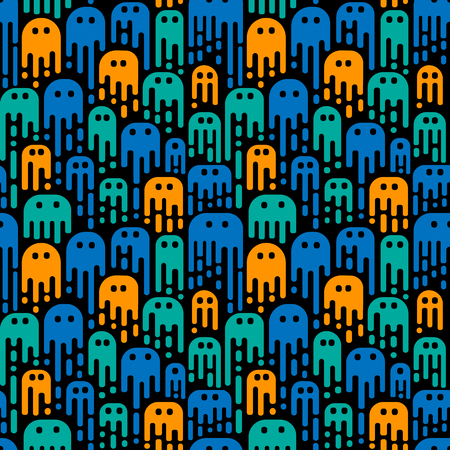 Cute cartoon ghosts on a black background. Vector seamless pattern. Use in the design of Halloween or for children's pattern.