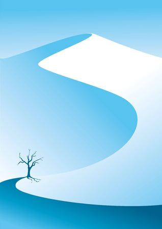 Illustration pour Winter mountains. Snow mountain. Lonely tree in the snow. Vector illustration suitable for poster - image libre de droit