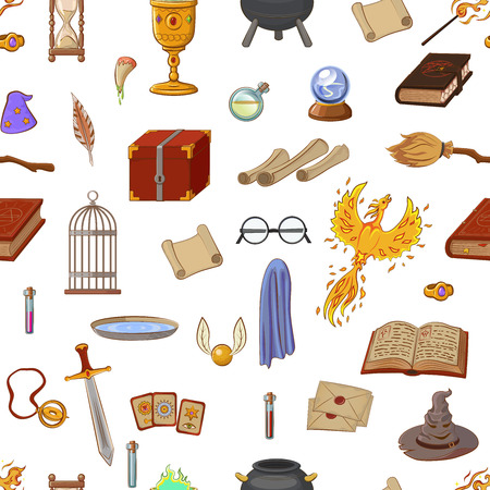 Illustration pour Magic pattern with: wizard, hat, magic book, roll, potion, broom, crystal ball, glasses, snitch. Different witch equipment in cartoon style. Vector illustration. - image libre de droit