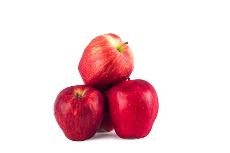 Photo for red apples  fruit on white background fruit agriculture food isolated - Royalty Free Image
