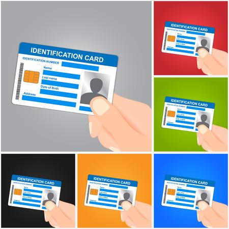 Illustration pour Hand Holding Identification Card on Color Background.  - image libre de droit