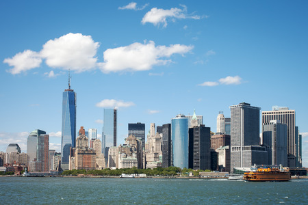 View of New York Financial District on a clear sunny summer day