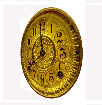 Antique gold clock face from right