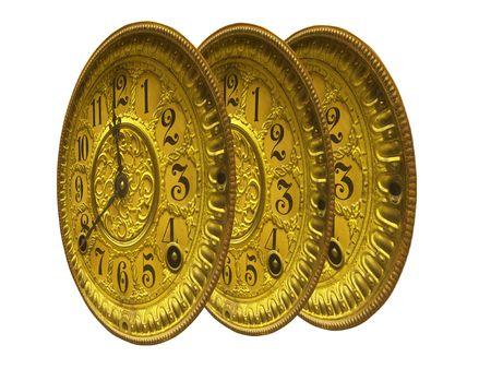 triplicate clock faces, antique gold