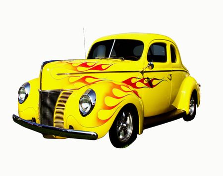flamed yellow coupe hot rod, isolated on white