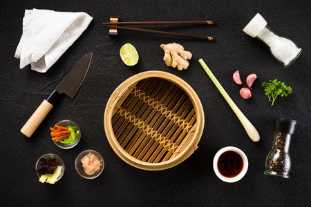Asian food ingredients and steamer top view
