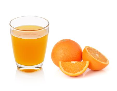 Photo pour Fresh orange and glass with juice - image libre de droit