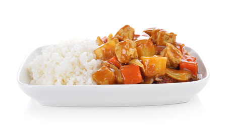 Curry and rice on white background.