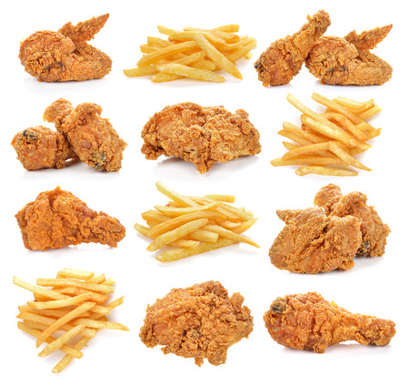 fried chicken and french fries on white background.