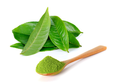 Photo pour powder green tea and green tea leaf isolated on white background - image libre de droit