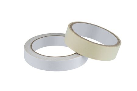 Photo for office stationary Roll of Glue tape, masking tape, Double-sided adhesive and scotch tape isolated on white background with clipping path - Royalty Free Image