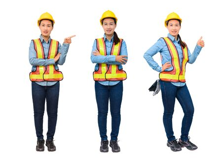 Photo pour Collection set Portrait of female worker with Protection Equipment pointing on copy space, isolated on white background - image libre de droit
