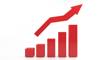 Photo pour The 3d RED graph showing rise in profits or earnings - image libre de droit