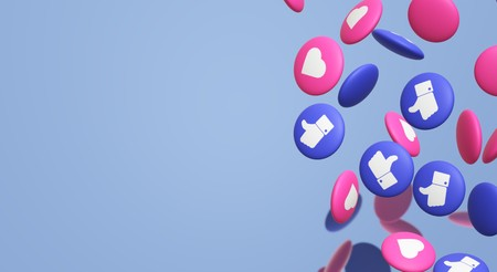 Photo pour 3d rendering Thumbs up and heart social media icon. - image libre de droit
