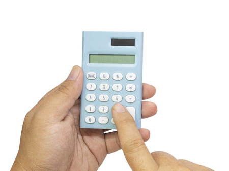 Photo pour The blue calculator on hand white back ground  isolated image. - image libre de droit