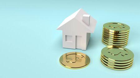 Photo pour The house and gold coins 3d rendering close up image. - image libre de droit