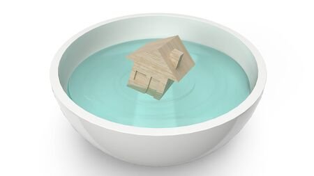 The home wood toy in white bowl for flood concept 3d rendering.の写真素材
