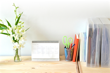 Home office table with stationary