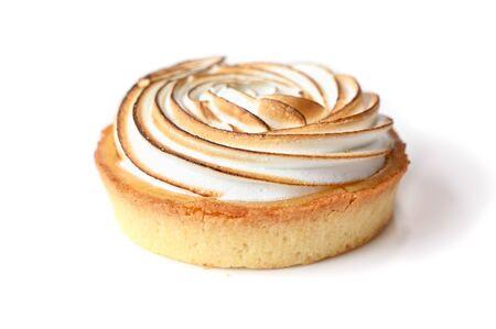 Photo for Lemon meringue tart on white background - isolated - Royalty Free Image