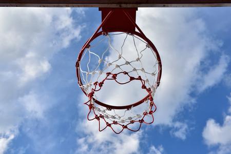 Basketball hoop,The bright daytime sky