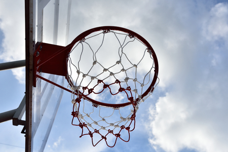 Basketball hoop,The bright daytime sky