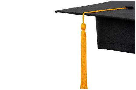 Photo pour Black hats, golden tassels of university graduates on isolated background and clipping path - image libre de droit