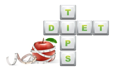 diet tips text with measure tape and apple