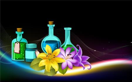aroma spa oil bottles and flower illustration